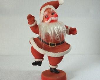Vintage Red Felt Santa Dancing on Base