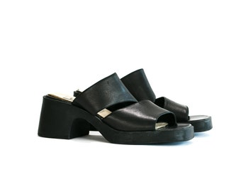 Vintage 1990's Unlisted Black Leather Strappy Sandals Summer Women's Size 8 9 Us Chunky Gothic/Grunge