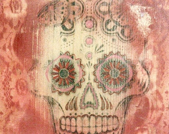 Decorative Wall Art with Day of Dead Theme - Sugar Skull in Red #2
