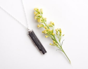 Raw Black Tourmaline Necklace in Silver - OOAK Jewelry
