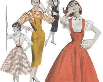 Butterick 7722 Misses 50s Buttoned Suspender Jumper and Blouse Sewing Pattern Bust 30