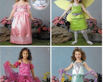 Simplicity 2384 Girl's Princess Costumes Sewing Pattern Size 3 to 8 Breast 23 to 27
