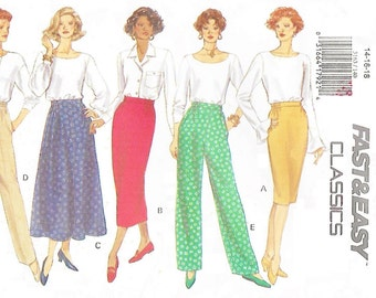 Butterick 3163 Misses' 90s Skirt & Pants Sewing Pattern Size 14 to 18 Hip 36 to 40