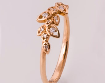 Leaves Engagement Ring, 14K Rose Gold and Diamond engagement ring, engagement ring, leaf ring, filigree, antique, art nouveau, vintage, 11
