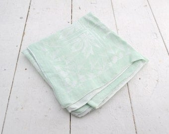1950s Pale Mint and White Linen Tablecloth