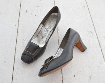 1960s Stanley Philipson Black Heels, Size 8 1/2