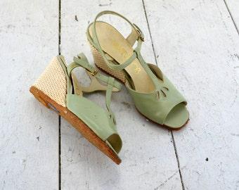 1970s Mint Green Socialites Crochet Wedge Sandals, Size 7M