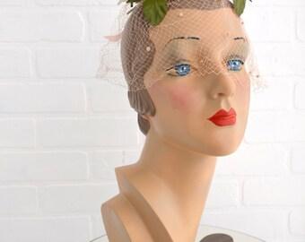 1960s Pink Rose Fascinator