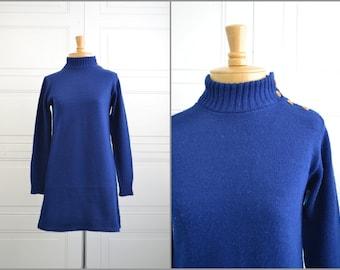 1960s Alberoy Navy Sweater Mini Dress