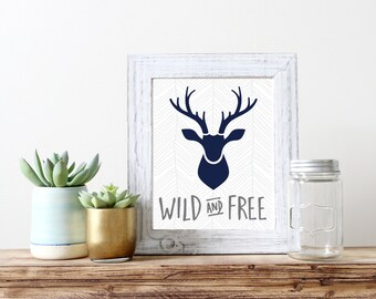 Wild and Free Chevron Stag Antler Print 5x7 8x10 11x14 Wall Art Nursery Home Decor Nursery Print Art