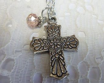 Antique Silver Floral Cross Necklace Pendant with Crystal Dangle