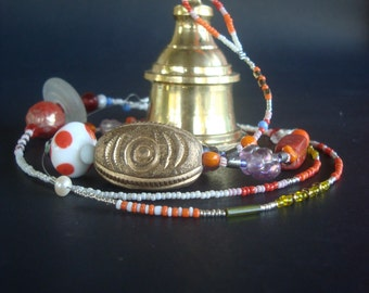 temple bell, protection eye, colourful gift, meditation, spiritual, rare glassbeads, India, Hinduism, clear sound, ringing,