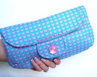 Pouch, Clutch, Heart Clutch, Handmade Clutch, Handmade Pouch, Heart Pouch, Women's Clutch