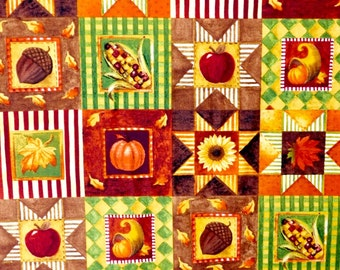 Thanksgiving fabric, Patchwork Harvest fabric 100% cotton fabric for Quilting and general sewing projects.