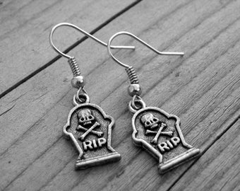 Silver Skull and Crossbones RIP Tombstone Gravestone Earrings Halloween Skull Jewelry Gothic Goth Horror Punk Rock Cemetery Graveyard