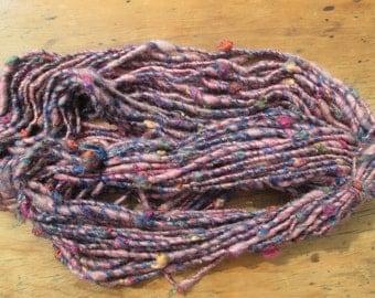 Handspun art yarn GALAXY 47 yards free U.S. shipping salmon pink yellow gold natural orange red