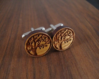 Men's Wooden Cuff Links - Tree Branch Engraved in Maple Wood - Wedding, anniversary, any Special Occasion