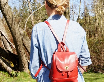 90's Coach Red Leather Mini Backpack