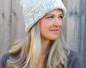 READY TO SHIP- Cozy Woman's Cable Knitted Beanie in Wheat- Tan Woman's Hat