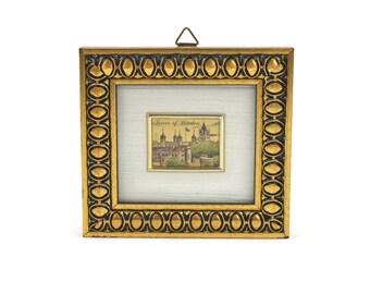 Framed Art TOWER OF LONDON - Miniature Art, Souvenir London, 23 Kt. Gold Leaf Art, Gift Idea, c.1970s