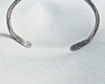 Dimpled Twisted Sterling Bracelet Medium Size Hand Forged