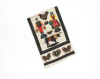 Vintage Tole Print Towel Pennsylvania Dutch Pattern - Red, Yellow, Black - Scandinavian Design -  Kitchen Dish Towel - Unused MWOT Paragon