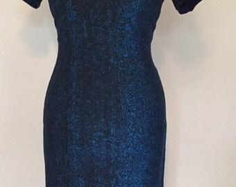 Beautiful vintage 1950s sparkly blue lurex hourglass cocktail dress VLV rockabilly