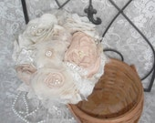 Bridal Bouquet, Fabric Flower Bouquet, Vintage Wedding Bouquet, Bridal Brooch Bouquet,Shabby Chic,Rustic, Nude/Champagne/Blush/Ivory Bouquet