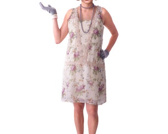 Retro Flapper Dress, Great Gatsby Dress, 1920s Dress,Roaring 20s Dress, Downton Abbey, Floral Flapper Dress,Shift Dress, Bridesmaid,Costume