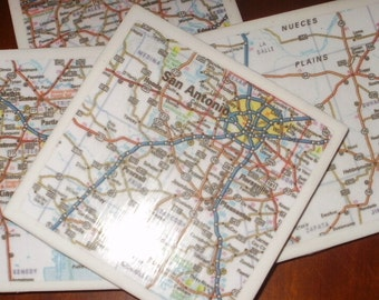 Map Coasters - Texas Coasters...Featuring San Antonio and Corpus Christi...Set of 4...For Drinks or Candles...Full Cork Bottoms NOT Felt