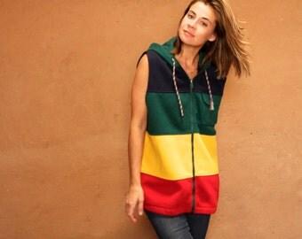 90s COLOR BLOCK hoodie parka womens SKI fleece columbia style Jacket