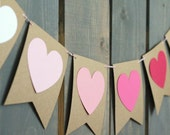 Kraft, Pink, & Red Valentine's Day Ombre Paper Banner / Garland - Home Decor, Party Banner, Photo Backdrop, Baby / Wedding Shower
