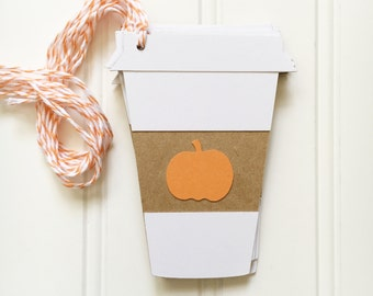 Fall / Autumn Pumpkin Spice Latte Coffee Cup Gift Tags - Starbucks Gift Card Holder, DIY Gift Wrap, PSL Gift Tag, Coffee Lover Gift