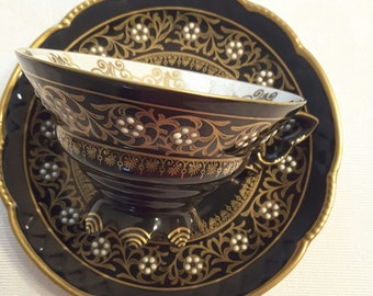 Mitterteich Tea Cup and Saucer; Raised Hand Enameled White Beading; Bavaria Germany- circa 1918 to present  DR