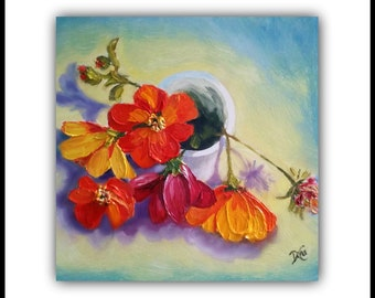 Oil Painting, CUP OF JOY Original Oil painting, impasto, flowers, cup, vase, floral, garden, wall art, signed by artist, blue, orange