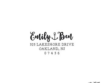 Personalized Custom Rubber Stamp or Self Inking Stamp Calligraphy Script Nautical Boating Sailboat Anchor Home