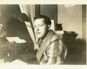 "Vintage Photo ""The Mystery Novelist"" Typewriter Snapshot Photo Antique Photo Black & White Photograph Found Paper Ephemera Vernacular - 62"