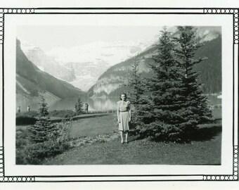 "Vintage Photo ""She Was Here"" Lake Louise Alberta Canada Snapshot Photo Old Black & White Photograph Found Paper Ephemera Vernacular - 39"