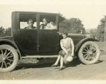 "Vintage Photo ""Weekend Warriors"" Women Girl Driving Classic Car Snapshot Photo Antique Black & White Photograph Found Paper Ephemera - 200"