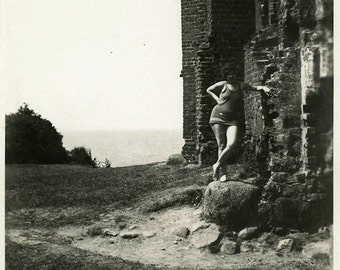 "Vintage Photo ""The Castle Swimmer"" Swimsuit Snapshot Photo Old Antique Photo Black & White Photograph Found Paper Ephemera Vernacular - 128"
