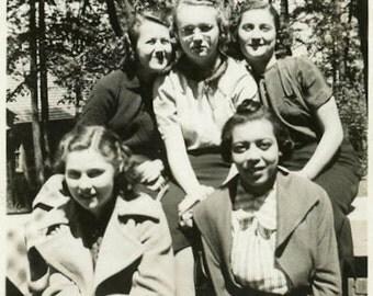 "Vintage Photo ""Five Friends of Boston"" Snapshot Old Antique Photo Black & White Photograph Found Paper Ephemera Vernacular - 66"