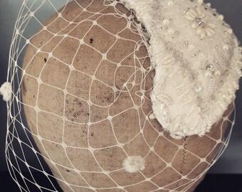 SAMPLE SALE Beaded birdcage headpiece ready to ship
