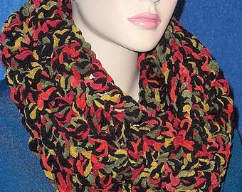 Fall Crochet Infinity Scarf, Black Crochet Infinity Scarf, Green Crochet Infinity Scarf. Autumn Red Scarf, Chartreuse Green Infinity Scarf,