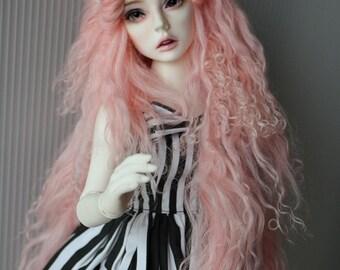 "10in"" Long Sakura Pink Tibetan Mohair Wavy Wig for Volks BJD SD Dolls"