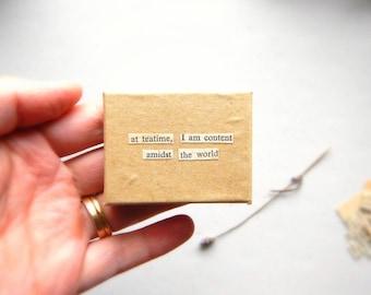 Tea Lover Small Kraft Box with Phrase - Vintage Jane Eyre Words / Unique Teatime Gift, Trinket Jewelry Box, English Literature Meditation