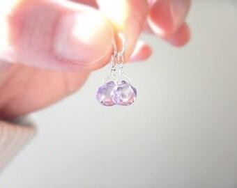 Two Dainty Pink Amethyst Drop Dangles / For Interchangeable Earrings or Hoops, DELICATE Matching Best Friends Pendants, Lilac Purple