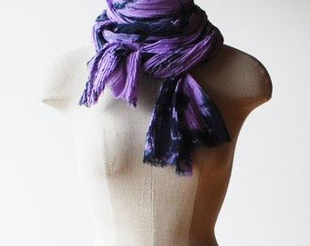 purple scarf, long skinny scarf, cotton hand dyed scarf, Rorschach ink blot pattern