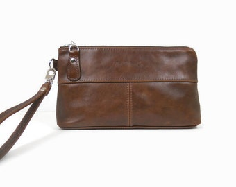 Brown Leather Clutch Purse, Small Leather Purse, Evening Clutch, Leather Wristlet, Leather Crossbody Bag, Clutch Wallet, Made in USA