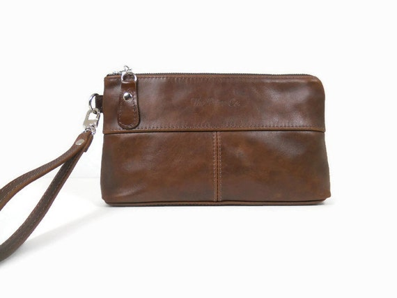 Brown Leather Clutch Purse Small Leather Purse Evening