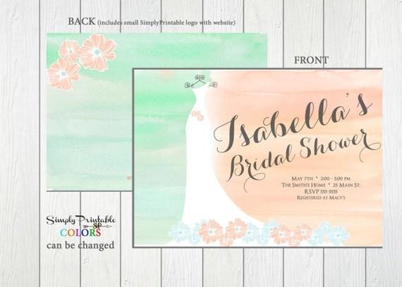 Coral and Aqua Bridal Shower Invite, Wedding Dress Invitation, Bride Invitation, Wedding Shower, Watercolor Invitation, Carolyna